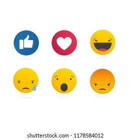 Collection of social media  like, love, haha, sad, wow and angry emoticons