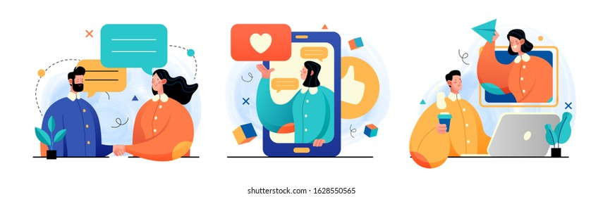 Collection of social media network and digital communication concept illustrations. Perfect for web design, banner, mobile app, landing page. Vector Illustration