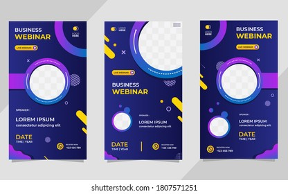 Collection of social media story post templates. Vector graphics of dark blue and purple background, perfect for business webinars