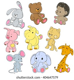 Collection of soft toys. Cartoon toy rabbit, elephant, hippo, cat, bear, giraffe, mouse, hedgehog, pig. Vector doodle characters.