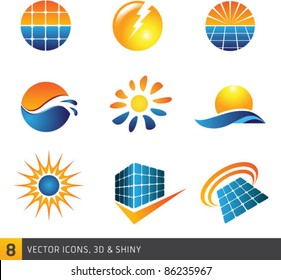 Collection Of Solar Vector Symbols Isolated On White Background. Graphic Design Editable For Your Design.