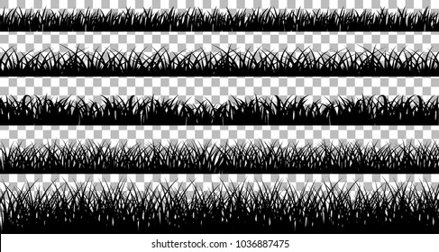 Collection of solid black grass isolated from a white background. Vector illustrations
