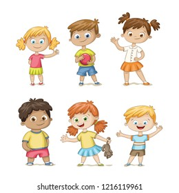 Collection of some cute children, isolated on white background