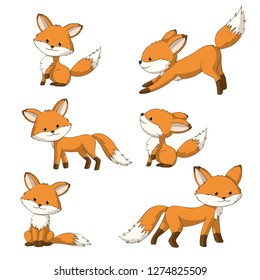 Collection of some cute foxes, hand draw illustration