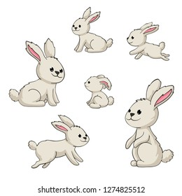 Collection of some cute rabbits, hand draw illustration