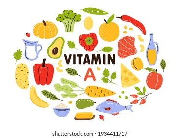 Collection of sources of vitamin A. Fruits and vegetables fortified with ascorbic acid. Cartoon flat vector illustration isolated on white background.