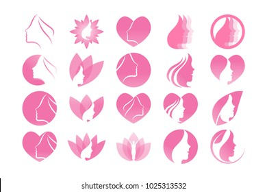 Collection of spa aesthetic logo icon template vector