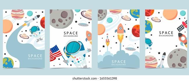 Sammlung von Raumhintergrund mit Astronaut, Planet, Mond, Stern, Rakete.Bearbeitbare Vektorillustration-Illustration für Website, Einladung, Postkarte und Aufkleber
