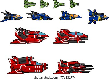 Collection of space ships for 2d side scrolling space shooter games