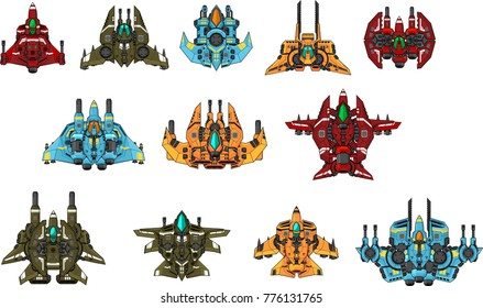 Collection of space ships for 2d top down space shooter video games