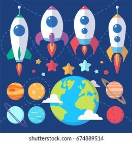 Collection of spaceships, planets and stars. Space symbols for scrap-booking, design projects, invitations and advertisement