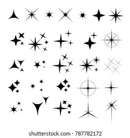 Collection of sparkle vector illustrations. Sparkles black symbols. Sparkle star. Glowing light effect star.
