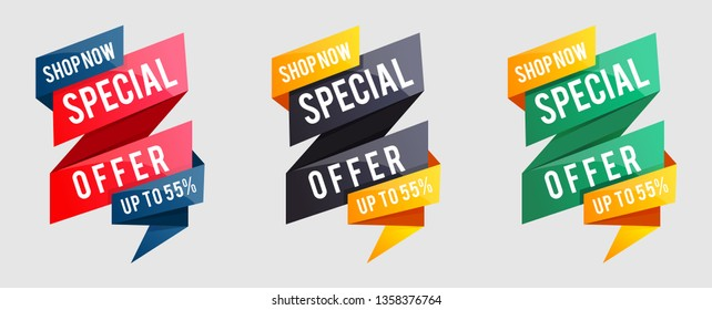 collection of Special offer vector ribbon design template. Banner sale tag. Market special offer discount label. Super Sale and special offer. 75% off. Coloful banner
