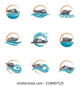 collection of speedboat and yacht icons on waves