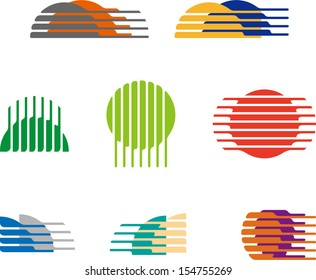 Collection of sphere vector logo set. Abstract globe symbol, isolated round icon, business concept. You can use in the mobile, finance,biology, chemistry, science and travel image.