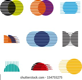 Collection of sphere vector logo set. Abstract globe symbol, isolated cross round icon, business concept. You can use in the mobile, finance,biology, chemistry, science and other commercial image.