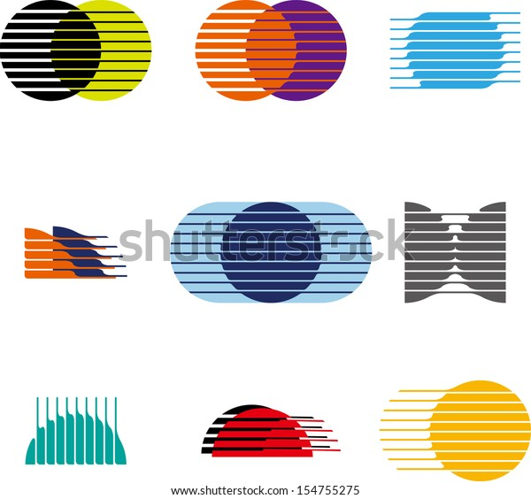 Collection Sphere Vector Logo Set Abstract Stock Vector