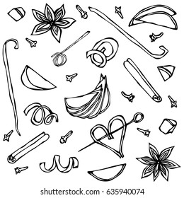 Collection of Spices and Fruit Slices. Anise, Cinnamon, Clove, Vanilla, Apple, Orange Peel. Hand Drawn Sketch Vector Illustration.
