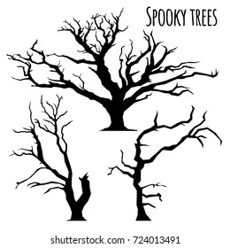 Collection of spooky trees silhouettes on the white background