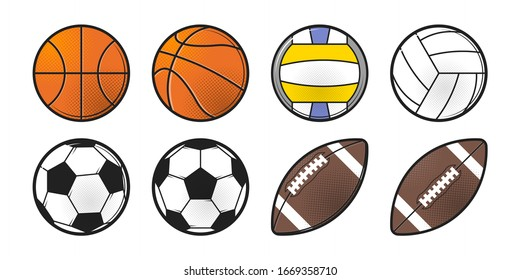 Collection of sport balls. American football, soccer, basketball, volleyball. Pop Art style halftone shadow icon design. Flat vector illustration isolated on white background.