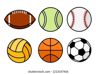 Collection of sport balls. Line style icon design. Flat vector illustration isolated on white background.