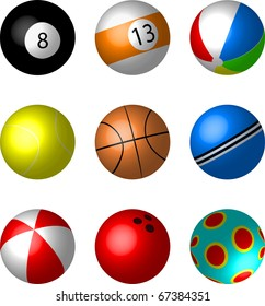 Collection of Sport and game balls illustration vector - snooker, pool, beachball, tennis, basket, cricket, play, bowling balls.