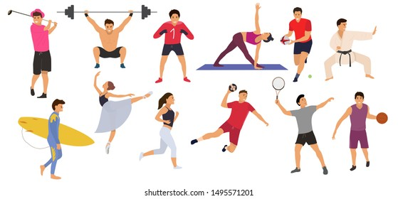 Collection sport people on a white background. Concept, tennis, yoga, karate, basketball, rugby, handball, ballerine, goalkiper, surfing, jogging, gym. Flat cartoon Vector Illustration. Isolated