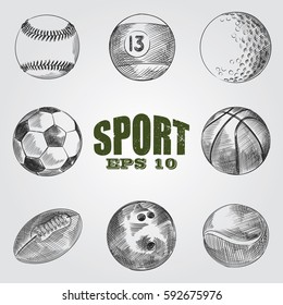 Collection of sporting items sketches isolated on white background. Set of hand drawn balls for soccer or football, basketball, baseball, golf and tennis, bowling and billiards vector illustration.