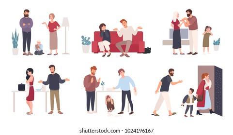 Collection of spouses or romantic partners during conflict. Set of husband and wife quarreling, brawling, shouting at each other. Family or domestic abuse, unhappy marriage. Vector illustration.
