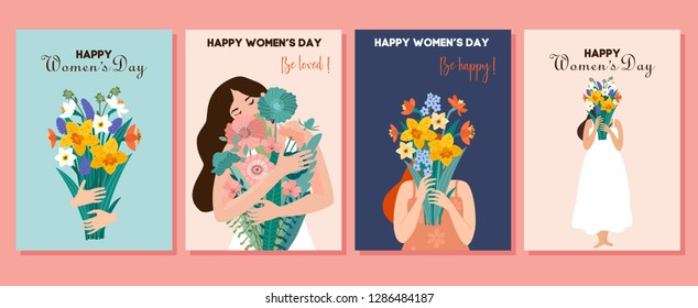 Collection of spring cards. International Women's Day. Vector illustration with cute women and bouquet of flowers. Beautiful template. Can be used for banner, poster, card, postcard and printable.