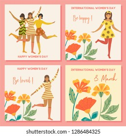 Collection of spring cards. International Women's Day. Vector vintage template with cute dancing girl and flowers in retro style. Can be used for banner, poster, card, postcard and printable.