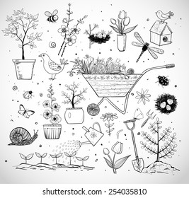 Collection of spring doodle sketch elements on white background: flowers, gardener's tool, bugs, spring trees, bird's nests with eggs.