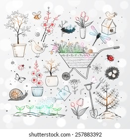 Collection of spring doodle sketch elements: flowers, gardener's tool, bugs, spring trees, bird's nests with eggs.