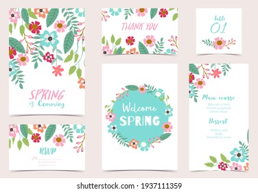 Collection of spring holiday with flower.Editable vector illustration for website, invitation,postcard and banner