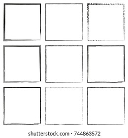 Collection of square black hand drawn grunge frames, borders set. Set of design elements. Vector illustration in black isolated over white