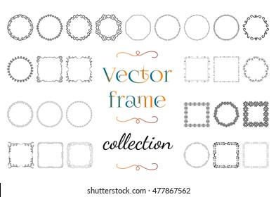 Collection square and round frames made of thin lines on white background