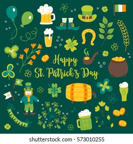 Collection of St. Patrick's Day design elements. Balloon, leprechaun, hat, notes, coins, branch, beer, horseshoe, treasure, Irish flag, garland, shoes, firework, clover, pipe, barrel, firework