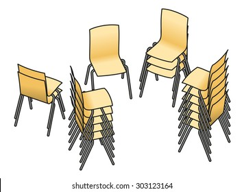 Collection of stacked chairs.