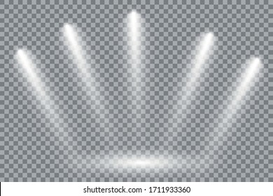 A collection of stage lighting. Large set Bright lighting with spotlights. Spot lighting the scene.