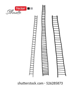 Collection staircase, black silhouette on white background illustration