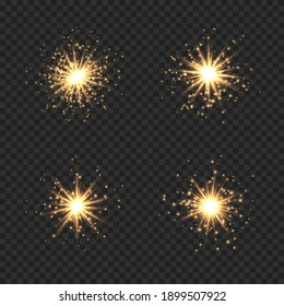 Collection of star burst with sparkles. Golden light flare effect with sparkles and glitter isolated on transparent background. Vector illustration shiny glow star with stardust, gold lens flare