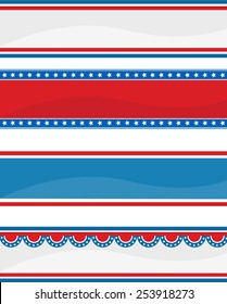 Collection of stars ans stripes USA  4th of July web header / banners on white