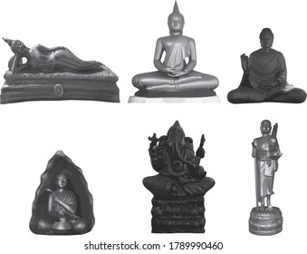 Collection of statues of Buddha and Ganesha