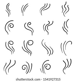 Collection of steam icon for design template, smell sign, wave logo and smoke symbol with Creative doodle abstract concept, vector illustration