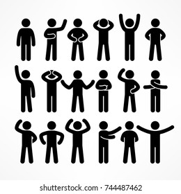 Collection of stick figures with different poses, human icon symbol sign. Vector illustration.