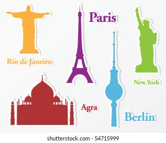 Collection of stickers from all over the world: Paris, New York, Agra, Berlin and Rio de Janeiro. Silhouette of important monuments.