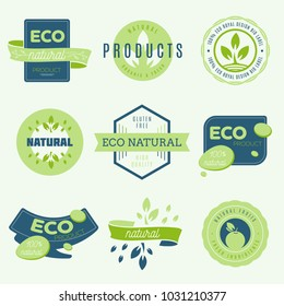 Collection of stickers and badges for natural products and eco food. Vector illustrations for ecology ingredients, healthy food and products package.