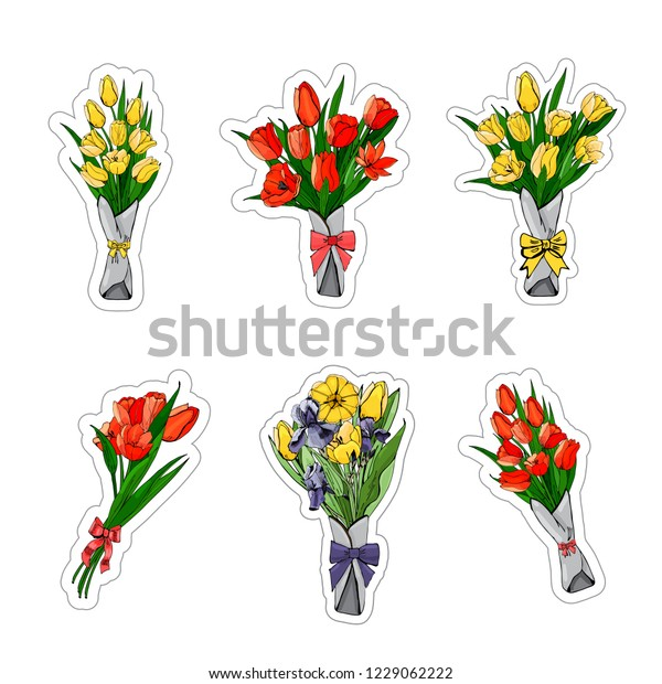A collection of stickers from bouquets of red and yellow tulips, purple irises.Hand drawn grapihic and colored sketch. Vector illustration isolated on white background.