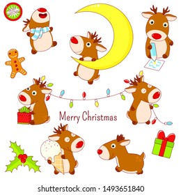 Collection of stickers with cute Christmas deers in kawaii style in different situations - with a xmas garland, on a crescent moon, runs, with ice cream, draws with a pencil. EPS8