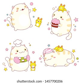 Collection of stickers with cute friends - cat and rabbit in kawaii style in different situations eating, sleeping, running, playing. EPS8